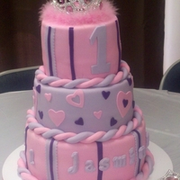 Princess Time Three Tiered Fondant cake, vanilla and bavarian cream filling. For my princess who turned 1