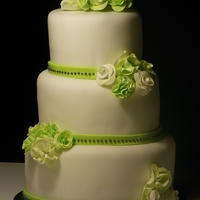 Green Wedding   all edible, fondant covered, gumpaste flowers fondant ribbon, edible beads