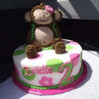Monkey And Poka Dots Monkey body is all cake, rice crispie arms, legs, ears and tail...covered in buttercream w/ fondant accents. Base cake is covered in...