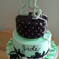 "Mint Green, Fashion In The City Chocolate fondant on the top tier with pearls, gumpaste shoe and ""24"", buttercream bottom tier with chocolate fondant buildings,..."
