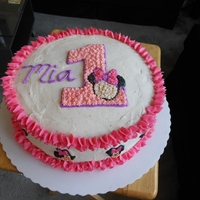 Mia's 1St Bday Triple layer cake with buttercream everything
