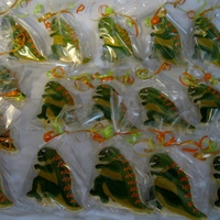 Dinosaur Cookies Dinosaur cookie favors. Inspired by dino cookies I saw on cool-party-favors site, baker wasnt listed. They started out as t-rexes but my...