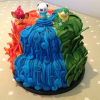 Pokemon Cake Fire Water And Leaves Two Tier Cake Pokemon Cake, fire, water and leaves. Two tier cake.