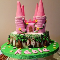 Princess Castle Cake Base is vanilla Madeira cake covered in white fondant, painted trees and fondant trees. Castle is also vanilla sponge as is the turrets....