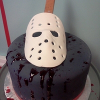 Friday The 13Th Cake mask and knife (behind mask) are edible.