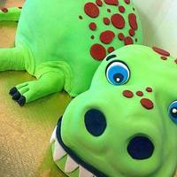 Silly Dinosaur Cake *This cake is a vanilla cake iced in buttercream and covered fondant.