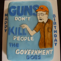 "Dale Gribble Cake 9x13"" cake with butter cream icing and covered in fondant."