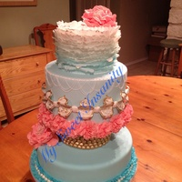 Feeling Blue Ombré blue with fondant ruffles, ruffle flowers and some piping details