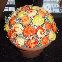 Cupcake Bouquet  Mini cupcake bouquet using Wilton 2D Drop Flower Tip for the roses. Real gypsophilia for filling inbetween the cakes to cover the dome. For...