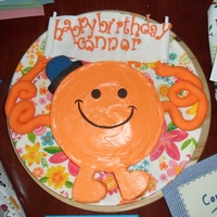 Mr Tickle From The Mr Men  My little boy's 3rd Birthday Cake. Sponge cake with coloured butter frosting. Fondent arms and hat. Sugarpaste letters with funky...