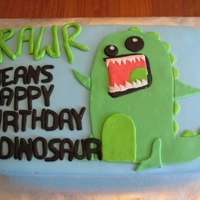 Rawr Means Happy Birthday In Dinosaur A dinosaur birthday cake for a two year old boy.