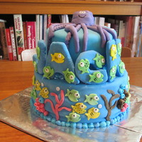 Fish Theme Birthday Cake A fish theme birthday cake for a two year old named Jack. The name is made from rice crispy and the rest is fondant.