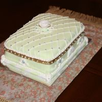 Faberge Jewelry Box Birthday Cake Faberge jewel box, made of pistachio bread and buttercream frosting covered in fondant and piping . Flower and reliefs were made of Fondant...