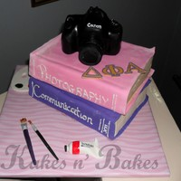 Artistic a birthday cake that tried to represent all the stuff that the birthday girl was interested in.All fondant. Camera is a cake