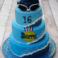 Swimmer´s Sweet Sixteen Cake I made this cake for the sweet sixteen party of a girl that loves to swim.