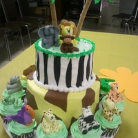 Jungle Safari Baby Shower The theme for the nursery was Jungle Safari so I did this for the baby shower cake. All of the animals are made of MMF. The trunks of the...