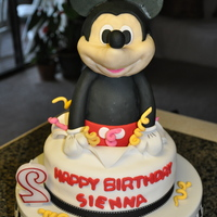 Mickey Mouse Cake  Chocolate Cake with Choc. ganache and Choc. buttercream.The Mickey was made with rice crisps and white choc. modeling paste and fondant....