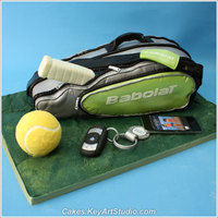 Tennis Bag Cake 25 servings of rich chocolate cake for a tennis player's Birthday. White chocolate tennis ball, sugar paste IPhone, car key and key...