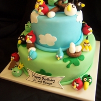 Angry Birds All fondant, hand made birds and pigs.
