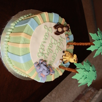 Jungle Cake   Chocolate cake w/ ganache filling and buttercream icing. Design based on baby's nursery.