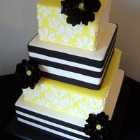 Damask And Horizontal Stripes Fondant cake with royal damask pattern and fondant horizontal stripes.