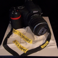 Camera Sculpted camera cake
