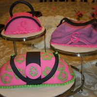 Pretty In Pink (And Green)   This was for my sister's Bridal Shower. The cakes are covered in fondant.