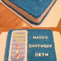 "Dr. Seuss Book Birthday Cake I made this Dr. Seuss book cake for an elementary school librarian. It was a 12 x 12"" square. White cake with BC icing. Dr. Seuss was..."