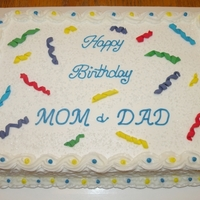 Confetti Birthday Cake Quarter strawberry sheet cake with BC icing and fondant confetti.