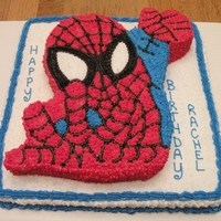 "Spiderman Birthday Cake Bottom cake is a 12""x12"" square. Spiderman is carved from a 10""x10"" square. All BC icing."
