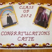 Graduation Cake 2012 Cake is a white half sheet with BC icing. The edible images were made from pics of the graduate's kindergarten graduation and high...