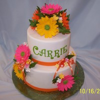 Gerbera Daisy Cake Birthday cake for a friend from work. Both layers are chocolate (Darn Good Chocolate Cake), torted, filled with Oreo Cookies & Cream...