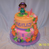 Dora The Explorer Birthday cake for my sweet granddaughter Ashley. Bottom tier Key-Lime, torted and filled with Key-Lime mousse and coconut flavored BC. Top...