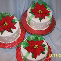 Poinsettia Cakes Three cakes for three special friends. Eight inch chocolate, torted, filled with peppermint flavored Bettercreme, with Ande's Candies...