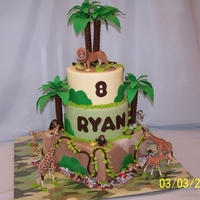 Jungle Cake Birthday cake for my grandson. Bottom tier, banana pound torted with buttercream filling, middle tier is chocolate torted with Oero Cookie...