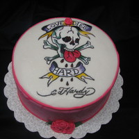 Ed Hardy Birthday Cake Ed Hardy design birthday cake for a fashion diva turning 19. All hand painted details. TFL!