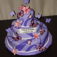 Butterfly Cake I made this for my goddaughters bday, she wanted something with pink and purple flowers and butterflies!!!