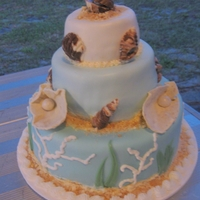 Ocean/beach 3 Tier Ocean/beach themed 3 tier with MMF, chocolate shells, Nilla wafer crumbs, and white chocolate-dipped tortilla oysters.