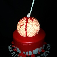 "Stick A Fork In Her...she's Done Brain cake was carved from round cake, and covered with snakes of fondant. Fork is gumpaste, and the ""blood"" is made from red..."