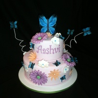 Butterfly Garden Cake Lots of flowers and butterflies, all made of gumpaste. I hand painted the butterflies. Very girly and fun. Thanks for looking!