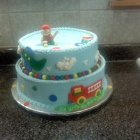 Fun At One twelve inch round bottom all fondant accents