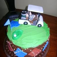 Golf Birthday Chocolate cake with buttercream icing and fondant accents..purchased golf cart..Found lots of ideas on this site!