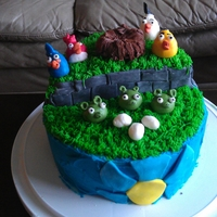 Angry Birds! Chocolate cake with buttercream icing and fondant accents