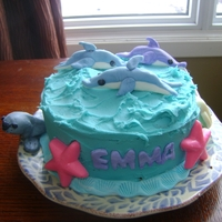 Dolphins Chocolate cake with chocolate butter cream filling. Iced in butter cream with fondant accents....and chocolate sea shells