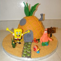Sponge Bob Bikini Bottom modeling chocolate spongebob, patric, plankton, gary,the cake is the pineapple