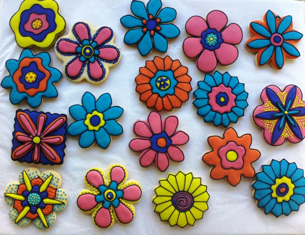 Funky Flowers Sugar cookies with royal icing.