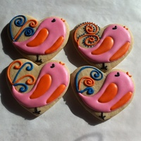 Valentine Birds Sugar cookies with RI.