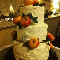 Rustic Fall Wedding Red velvet cake with apples and bay leaves. Based on a Martha Stewart design.