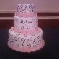 "Pink And Black Wedding 12"",8""and 6"" layers. Covered in MMF and painted with scroll designs."