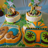 Boys Baby Shower Cake Jungle chocolate baby and carriage cake, almond and vanilla jungle rounds